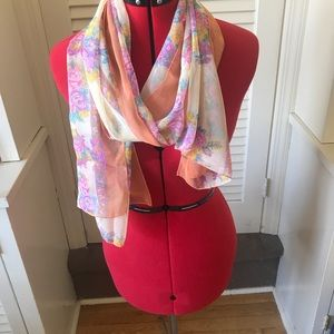 Lovely light, long ladies scarf with floral border